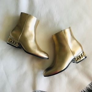 Gold chain booties